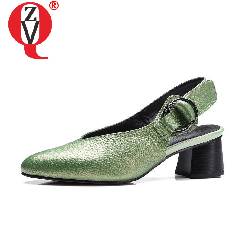 ZVQ cuero genuino 33 43 zapatos de gran tamaño zapatos de mujer zapatos ahuecados tacones 4,5 cm punta puntiaguda moderna concisa carrera zapatos de otoño zapatos-in Zapatos de tacón de mujer from zapatos    1