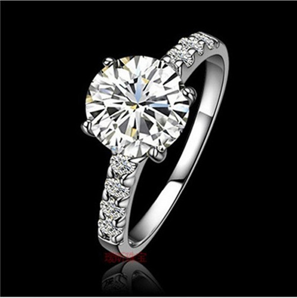 Genuine 14K Gold Ring Pretty Design Brilliant Round 1 Carat Diamond White Engagement Jewelry In Rings From Accessories