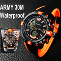 Fashion Casual Wristwatches Army Military Digital Led Watches Mens 5 Color Water Resistant Alarm Stop Watch Men Free Shipping