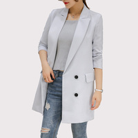 Blazer Feminino 2017 Long Women Blazers And Jackets Office Lady Style Double Breasted Long Sleeves Lady