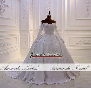 Image 2 - Mới thiết kế cô dâu váy làm cỏ dress satin với ren đầy đủ beading vạt áo