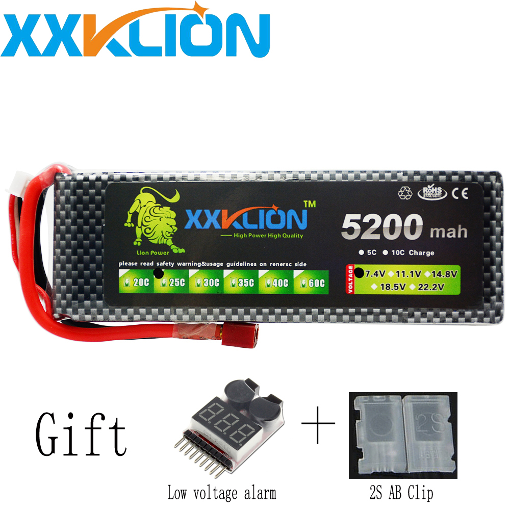 XXKLION 2S Lipo battery pack 7.4v 5200mAh 25C For rc helicopter rc car rc boat quadcopter Li-Polymer rc charg eable batteries wild scorpion rc 18 5v 5500mah 35c li polymer lipo battery helicopter free shipping
