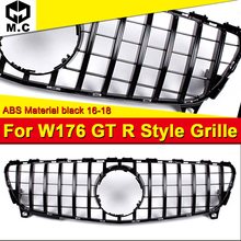 Fit For MercedesMB W176 GTR Style grille grill Sport A45AMG look A-Class A180 A200 A250 A260 Front bumper ABS Black 16-18