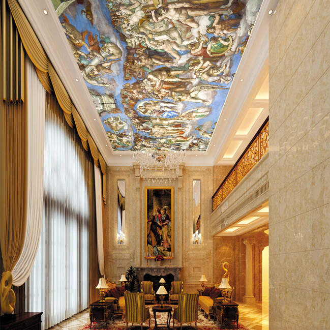 Us 7 1 52 Off Large Custom 3d Ceiling Murals European Style Mural 3d Wall Ceiling Mural For Backdrop Living Room 3d Photo Mural Sistine Chapel In