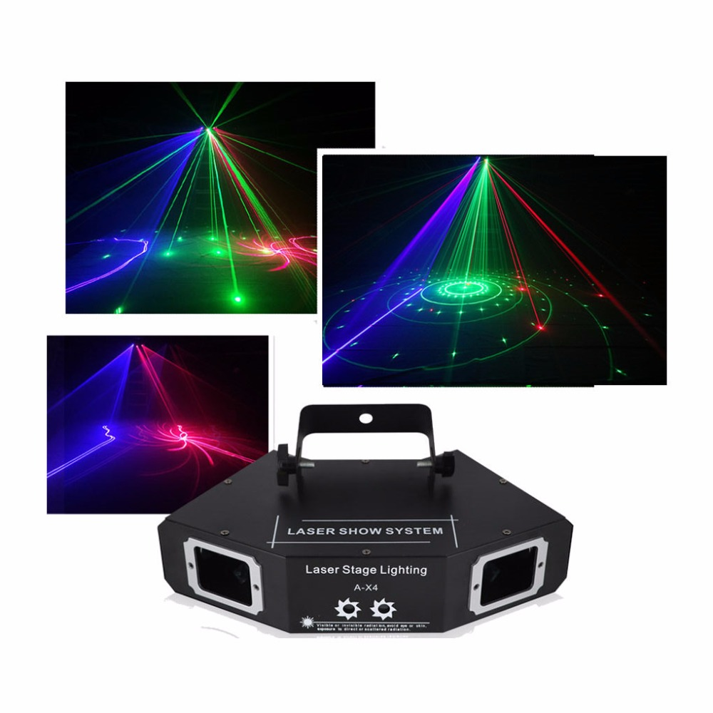 AUCD DMX 4 Lens Red Green Blue RGB Full Color Beam Network Pattern Laser Light Home Party DJ KTV Projector Stage Lighting A-X4 подушка ортопедическая эко месяц цвет васильковый 40 х 20 см