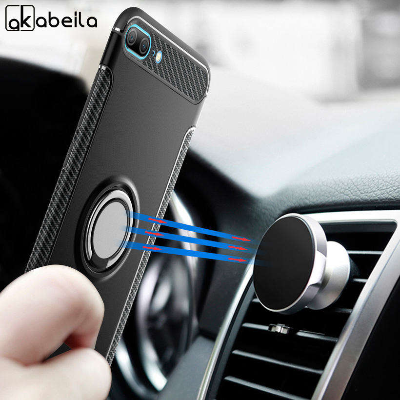 AKABEILA Case For Honor 9 Lite Case For Huawei Honor 9 10 8 7X V8 V10 Lite 6C Pro Cases Finger Ring Car Magnet Kicksatnd Covers in Fitted Cases from Cellphones Telecommunications