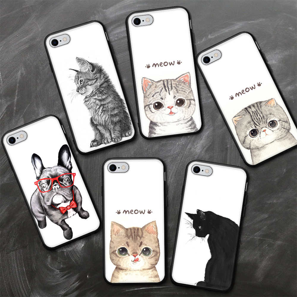 Cut Cartoon Animal Case For iPhone XS Max XR X 8 7 6 6S 6 S Plus Soft Silicone TPU Ultra Silm Back Cover For iPhone 5S 5 SE Case