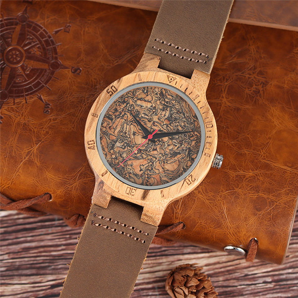 Men Wooden Wrist Watch Nature Sport Bamboo Simple New Arrival Genuine Leather Band Strap Quartz Watch (7)