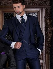 Handsome One Button Navy Blue Groom Tuxedos Groomsmen Men's Wedding Prom Suits Bridegroom (Jacket+Pants+Vest+Tie) K:807