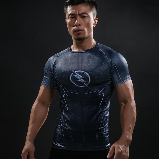 ab67e8835d ZOOM 3D Impressos Camisetas Homens Camisa De Compressão de Manga Curta  Raglan Flash Traje Cosplay Crossfit