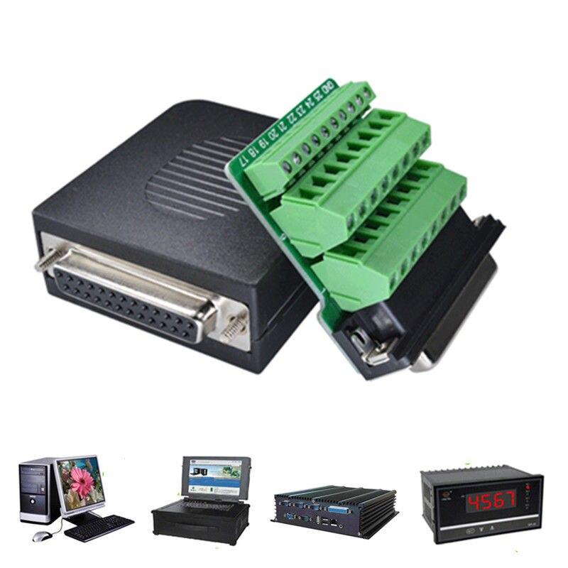 Mayitr 1pc durável portátil db25 d-sub 25 pinos terminais masculinos parafuso cabo plug capa solderless conector módulo 5*55*25mm