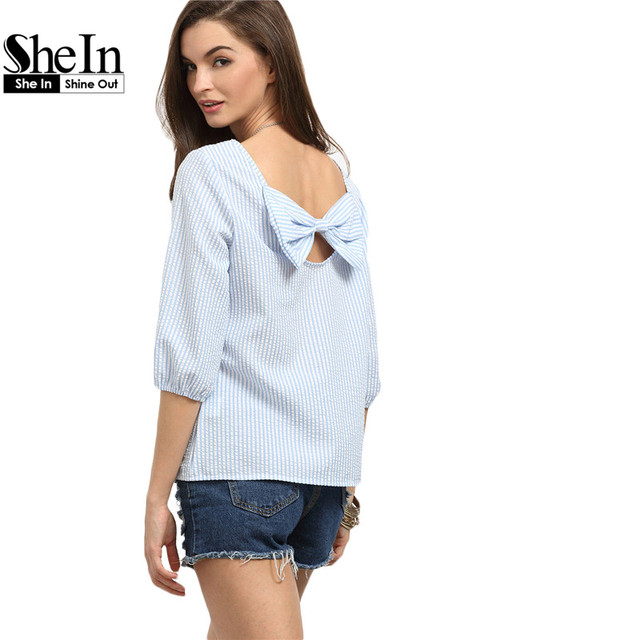 SheIn Womens Blouses For Summer Ladies 2016 Blue Striped Round Neck Three Quarter Length Sleeve Bow Back Casual Blouse