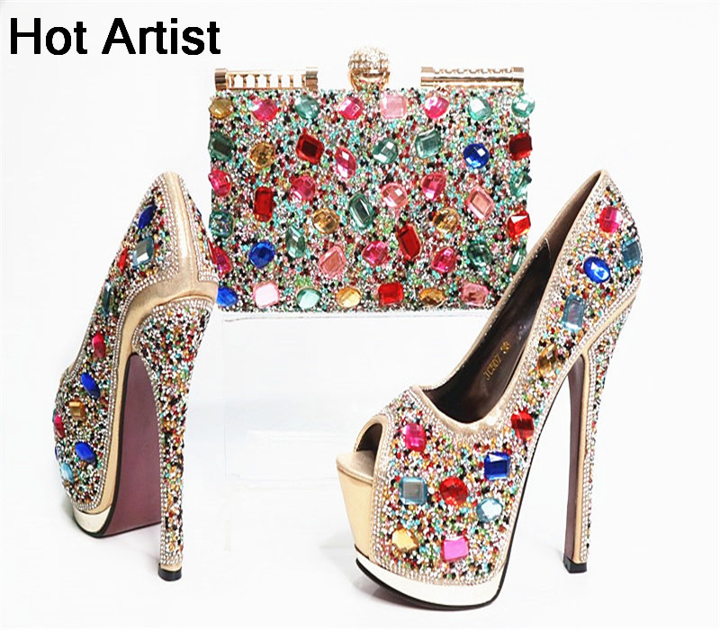 Hot Artist New Design African High Heels Shoes And Bag Set For Party Summer Rhinestone Woman Slipper Shoes And Bag Set G30