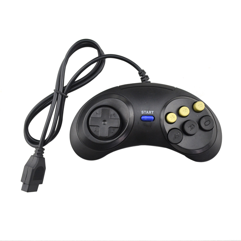 2PCS Classic black Wired Game Controller For SEGA Genesis Gamepad 6 Button For SEGA MD