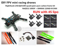 DIY Mini FPV Racing Drones Nightawk 250 QAV280 Quadcopter Pure Carbon Frame Kit NAZE32 10DOF EMAX