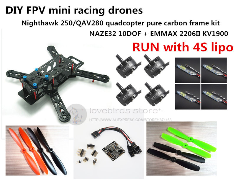 DIY mini drone FPV race Nighthawk 250 / QAV280 quadcopter pure carbon frame kit NAZE32 10DOF + EMAX MT2206II KV1900 RUN with 4S diy mini fpv 250 racing quadcopter carbon fiber frame run with 4s kit cc3d emax mt2204 ii 2300kv dragonfly 12a esc opto