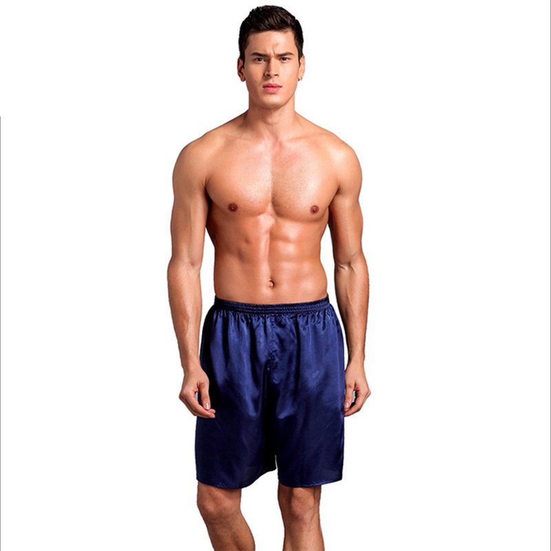 Men Sexy Silk Satin Sleep Bottoms Solid Lounge Pants Soft Pijama Short Summer Sleeping Shorts Home Pajama Pants Sleep Pants