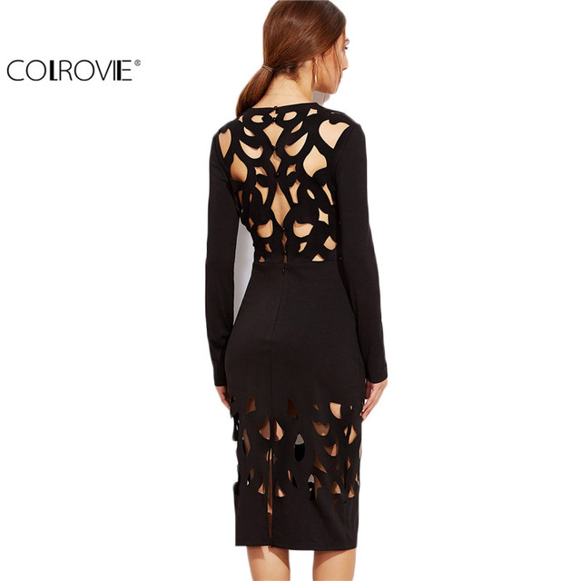 COLROVIE Women Dress Elegant Women Formal Dresses Long Sleeve Bodycon Dress Black Laser Cutout Pencil  Knee Length Dress