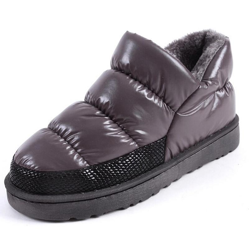 2016 women s winter snow boots warm plush down waterproof ankle boot woman low heel casual