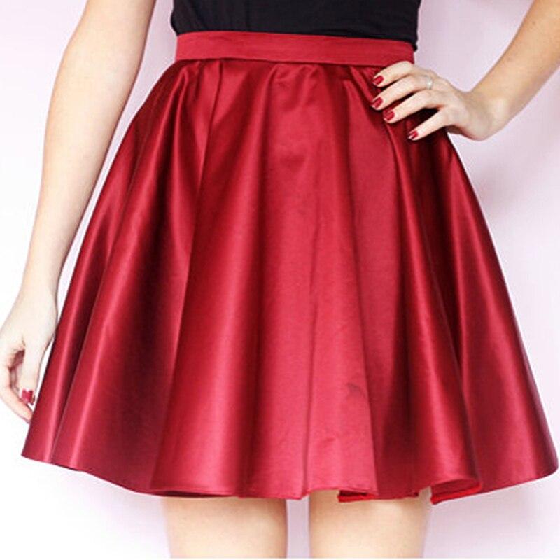Dark Red Short Satin Skirts Waistband Circle Skater Women Skirts Burgundy Short Mini Party Skirts