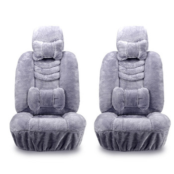 10pcs/set Car Seat Cover Set Plush Car Seats Real Fur Car Interior Accessories Cushion Winter Warm Wool Cushion Cover