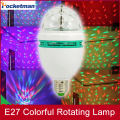 1pc/lot 6W E27 RGB 3 Led Colorful Rotating Spot Crystal Light Bulb Lamp XMAS party light stage lighting effect gadget led