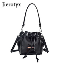 JIEROTEY Leather Bucket Bags Womens Handbags And Purses Mini Shoulder Bag With Zipper Female Tote Drawstring Drop Shipping