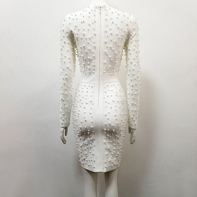 Blanc Longues Qualité Rayonne Soirée Mantual De Manches Robe Perles À Bandage Moulante Top OZiuPkX