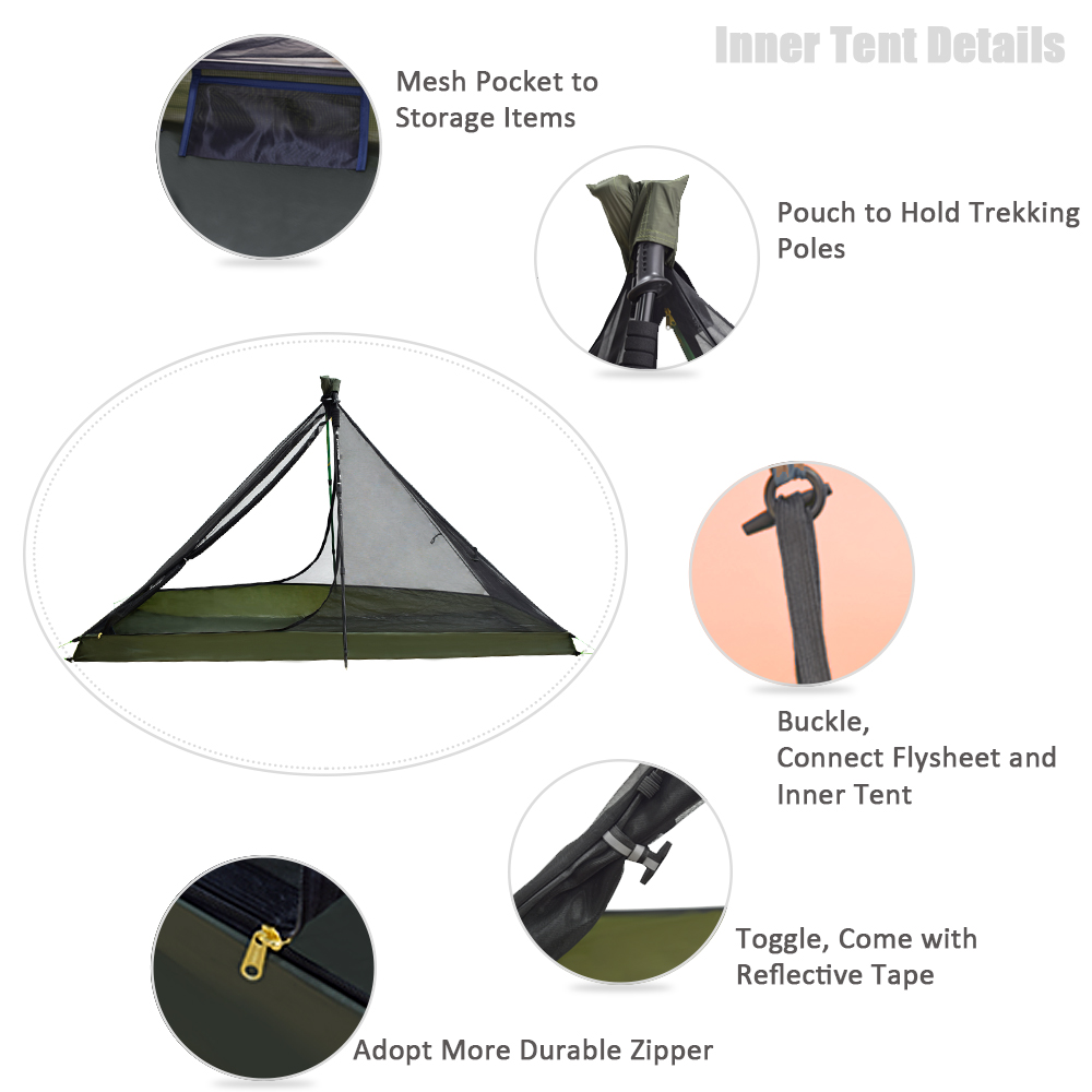 Image 3 - GeerTop Ultralight Camping Tent 1 Person 3 Season Portable  Compact Backpacking No Trekking Poles Tents Outdoor Hiking Road  TripTents
