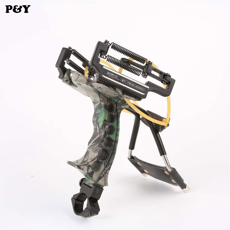 все цены на Genuine Piao Yu Slingshot Hunting Powerful Fishing Camouflage Catapult Folding Wrist  Aluminium Alloy Professional Sling Shot