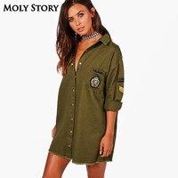 Camisa Militar Do Exército Verde solto Vestido Gola Virada Para Baixo de Manga Longa Vestidos de Franja Mini Hetero Vestido Robe Femme