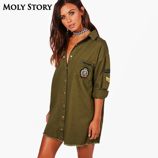 86149af3de Loose Army Green Military Shirt Dress Turn Down Collar Long Sleeve Fringe  Dresses Mini Straight Dress