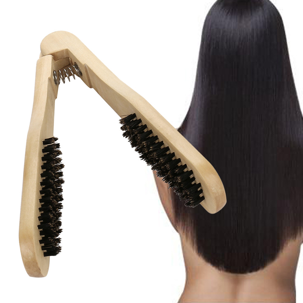 Dazzling Girl Store DIY Straight Hair Boar Bristle Hair Brush Styling Anti-Static Comb Brown Color