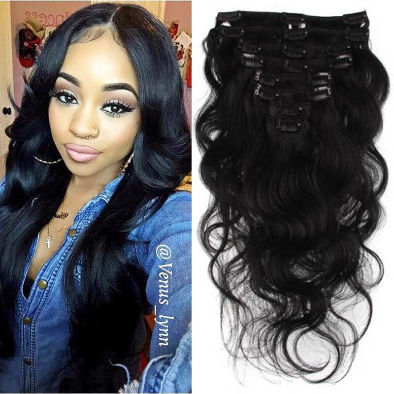 #1B Body Wave Human Hair 120g Clip In Human Hair Extensions Wave Brazilian Virgin Clip In Hair Extensions Human Hair