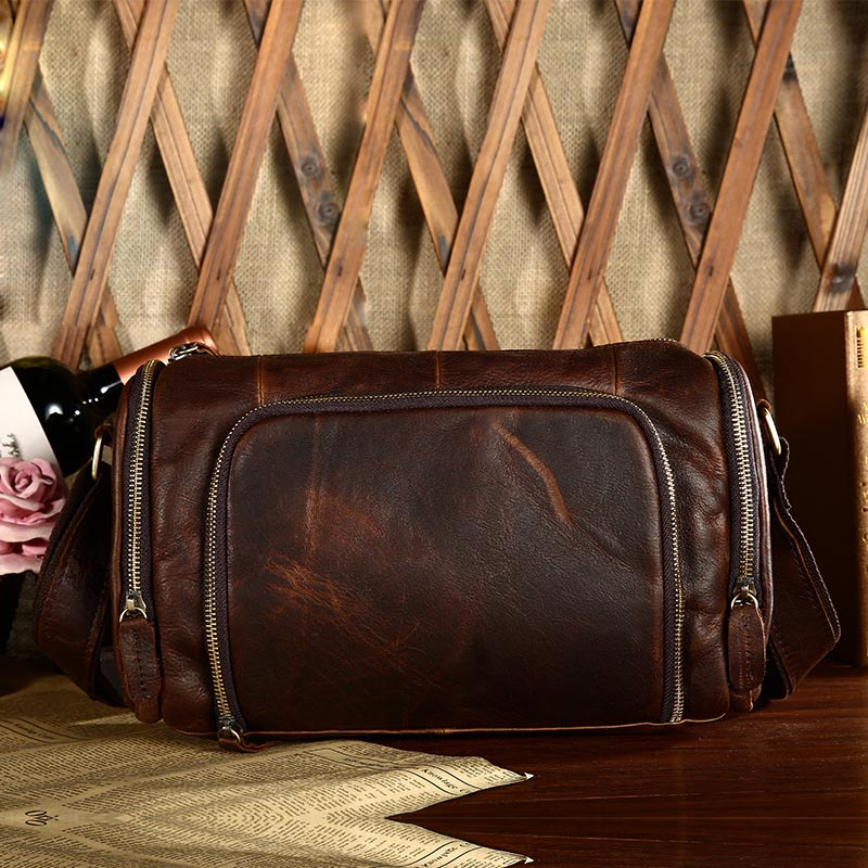 New High Quality Vintage Casual Crazy Horse Genuine Leather Cowhide Men Chest Bag Small Messenger Bags Man Business Shoulder Bag hot 2017 new arrival fashion leather men messenger bags high quality casual small chest packs vintage brown shoulder bags bolsos