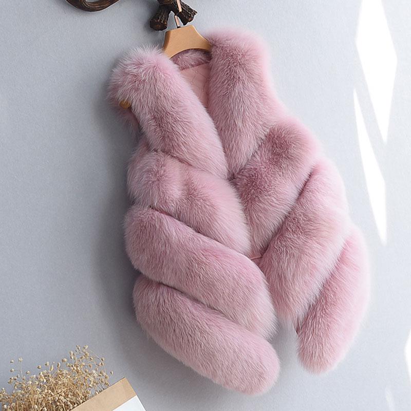 S-4XL женский Мех животных жилет Новинка года зима теплая искусственного лиса Мех животных жилет Для Женщин высоком Класс Мода o-образным вырезом с длинным Мех животных пальто кардиган - Цвет: Розовый