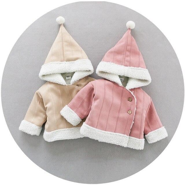 Оптовые 2016 новых babys пальто Горячая осень и зима ребенка хлопок полосой вышитые Ягнят шерстяное пальто