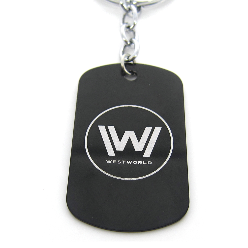 New Westworld Keychains Hot TV Series Logo Fashion Jewelry Dog Tag Black Metal Keyring Pendant Beaded Chain Women and Men Fans