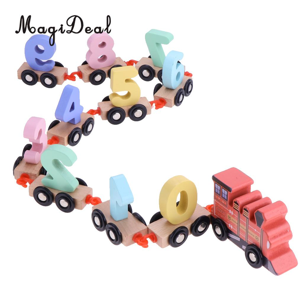 Mini Digital Train Wooden Alphabet Number Railway Car With 10 trains & 1 engine Educational Car Toys Christmas gift Kids Baby #A