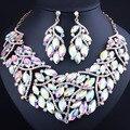 FARLENA Jewelry Luxurious Leaf Crystal Statement Necklace Earrings Rhinestones Dubai Bridal Jewelry Sets Wedding Accessories