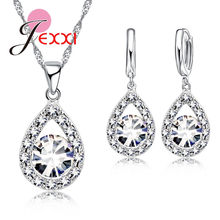 925 Sterling Silver Cubic Zirconia Pernikahan Perhiasan Set untuk Brides Tetesan Air Wanita Kristal Liontin Kalung Anting-Anting Set(China)
