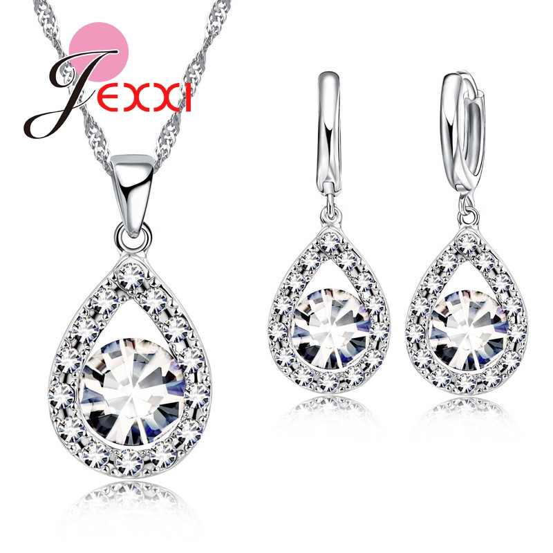 JEXXI 925 Silver Cubic Zirconia Wedding Jewelry Sets For Brides Water Drop Women Crystal Pendants Necklace Earrings Set