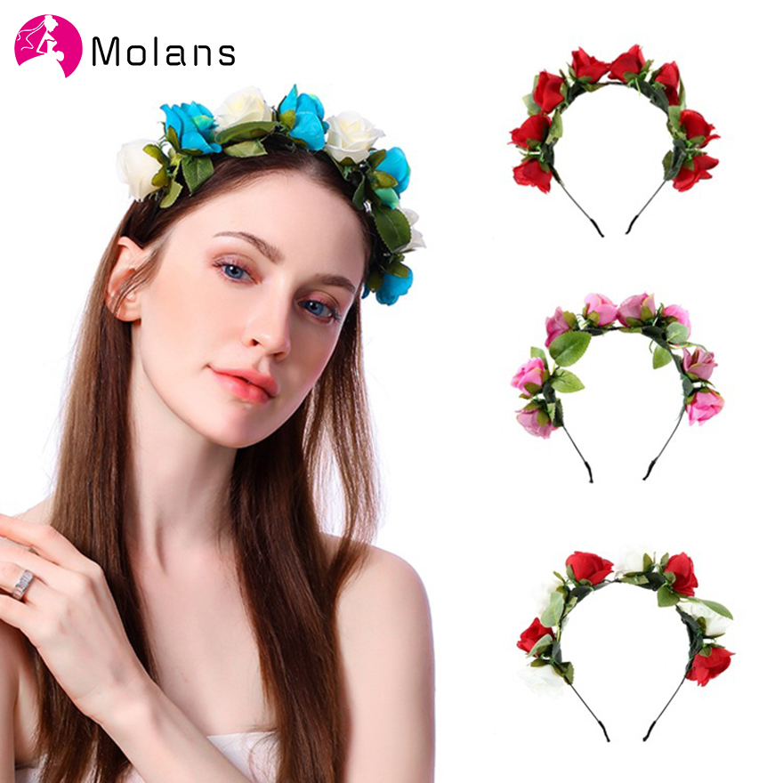 Molans New Bride Floral Wreath Stimulation Solid Rose Flower Crown Colorful Fabric Wreaths Hairband Girls Party Hair Accessories