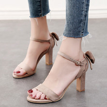 2018 New Summer Rome Gladiator Sandals Women Open Toe Thick High Heels Sandals Ladies Shoes Flock Party Shoes CH-A0035 brand new rome gladiator sandals women 2017 mixed color flowers leather thick high heels wedding shoes woman open toe luxury