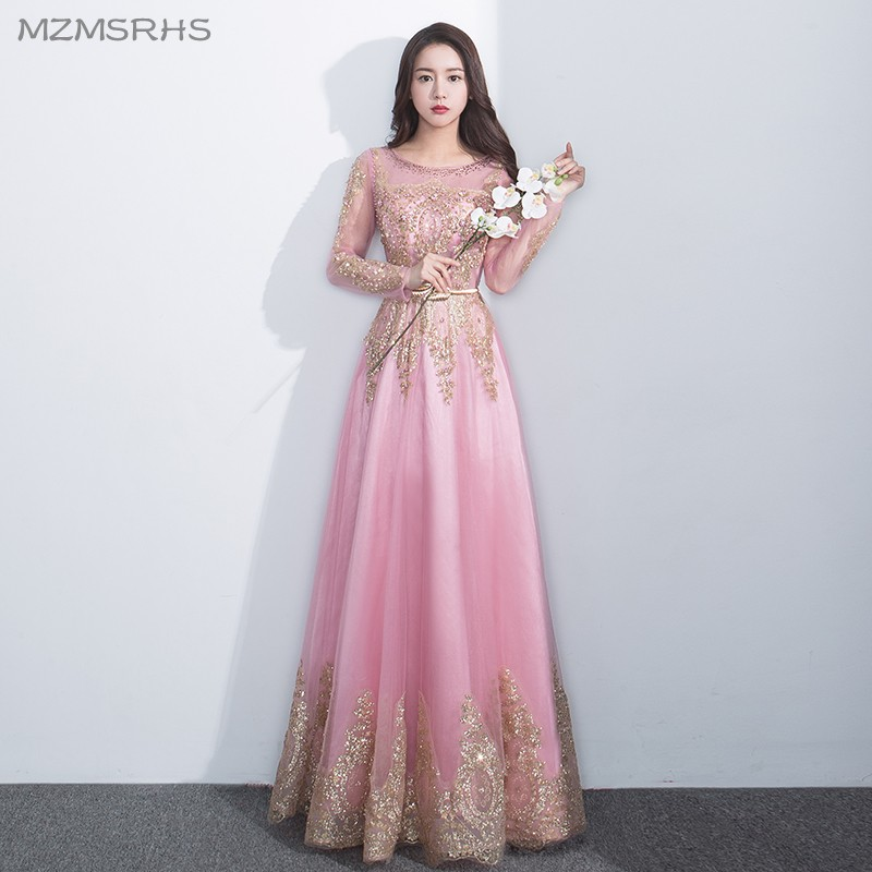 MZMSRHS Pink Long Sleeve A Line Prom Dresses Formal Evening Gowns ...