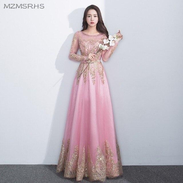 MZMSRHS Pink Long Sleeve A Line Prom Dresses Formal Evening Gowns ...