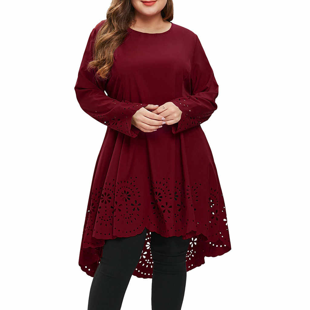 Fashion Summer Dress Women O-Neck Long Sleeve Plus Size 5XL Laser Cut High Low Hollow Out Sexy Dress Girl Pr om Dresses