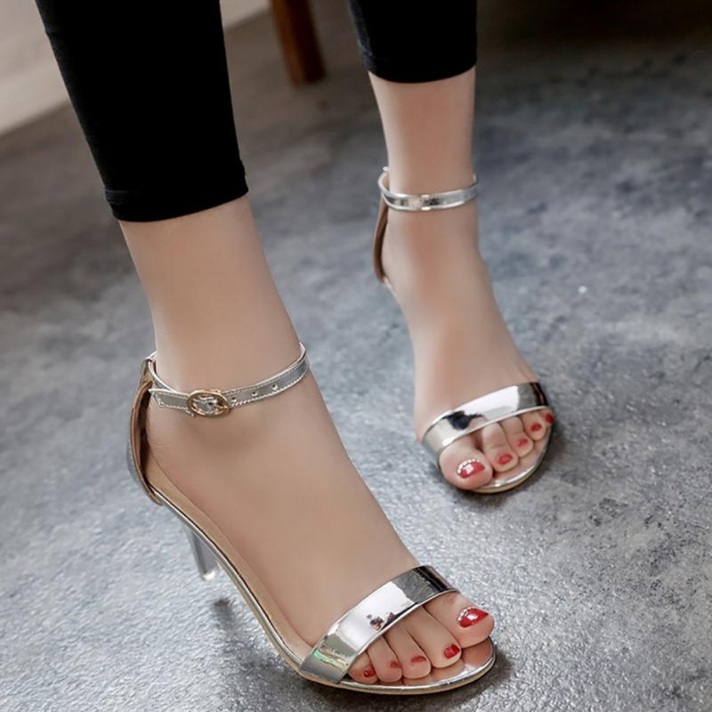2018 New Hot Women's Summer Fashion Metallic Strap Block Fine Heels Ankle Strap Sandals Gold/Silver