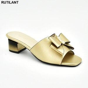 Image 5 - Chaussures de mariage africaines, chaussures de grande taille, décorée avec strass, chaussures de soirée nigériane pour femmes, nouvelle collection sans lacet