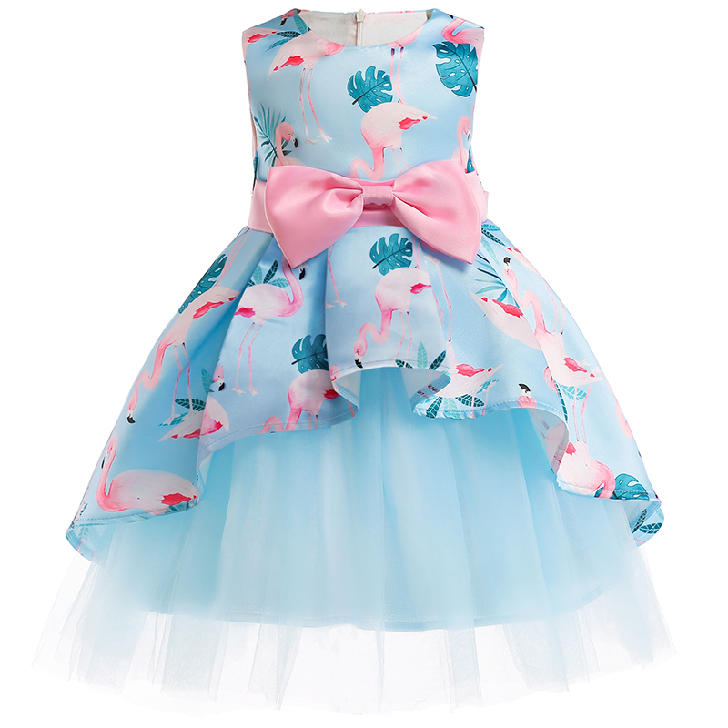 Girls Christmas Flower and Bird Dress Girl Princess Costume Dresses Girl Party Kids Children Prom Gown Vestido Formal Dress Bow 1